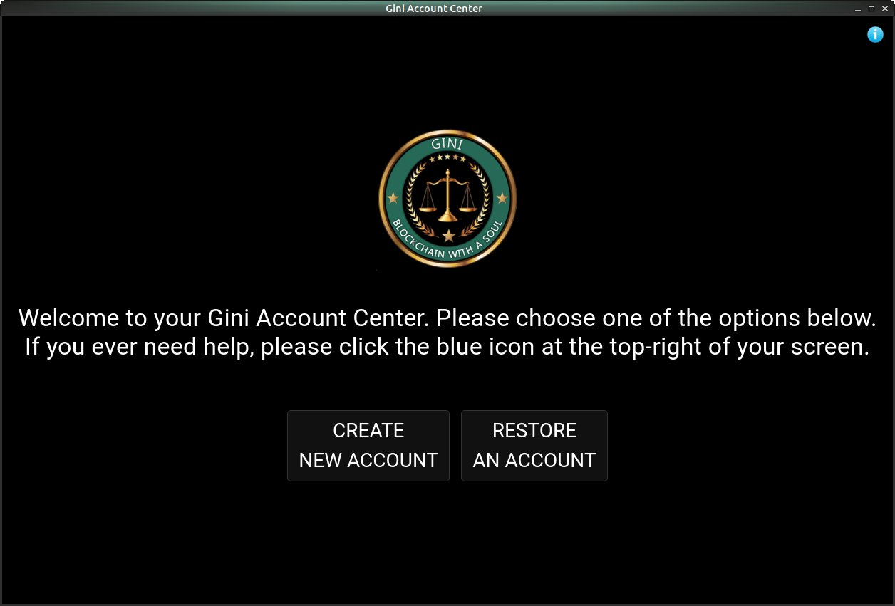 Gini Account Center Welcome Screen